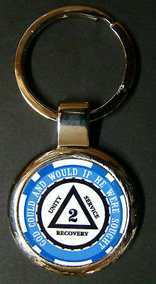 Sobriety Key Chain - Blue - Alcoholics Anonymous - Friends of Bill W