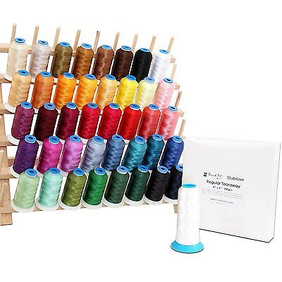 Machine Embroidery Starter Set: 40 Poly Colors Thread, Bobbin, Stabilizer, Rack