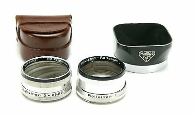 Rollei Rolleiflex Bay I (28,5mm) Rolleinars 1-2 & Metal Original Hood I In Case.