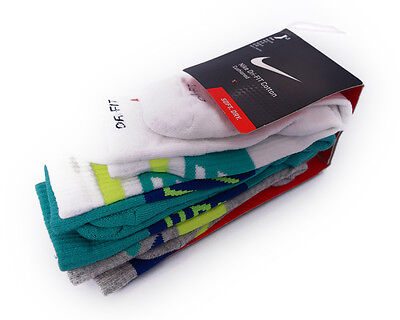 Nike Dri-Fit Fly Rise Crew 3-Pack White Grey Teal Mens Socks Size M (6-8)