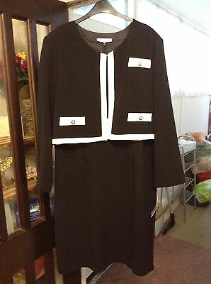 Size 22 Black White suit dress jacket wedding outfit mother of the bride NEW