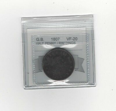 **1807**Great Britain, Half Penny, Coin Mart Graded **VF-20 Rim Dings**