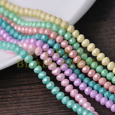 50pcs Lacquer Color 8x6mm Rondelle Faceted Glass Loose Spacer Beads Mixed