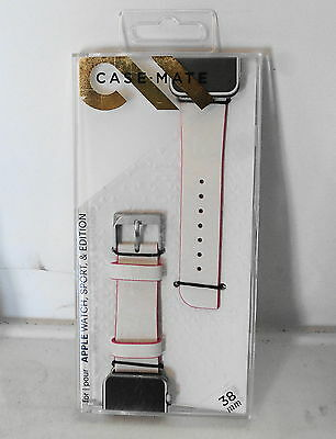 Case-Mate CM032785 Leather Watch Band for Apple Watch 38mm - White/Pink NEW