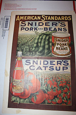 1914 American Standards Snider Catsup Pork and Beans Ad Ketchup Rare