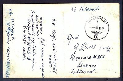 1943 Germany Volunteer Waffen SS Feldpost Postcard Cover to Latvia