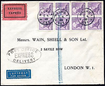 Express Delivery Cover 1948 Malmo, Sweden to London, England. Oval Handstamp