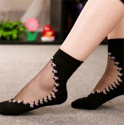 1Pair Retro Women's Floral Transparent Crystal Elastic Short Socks Cotton TF119