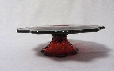 Ruby Red Glass Flat Stemmed Leaf Pattern Bon Bon Tidbit Tray Candy Dish