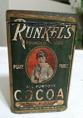 Antique Runkel's All Purpose Cocoa Tin  New York C1870's One Fifth Pound Can