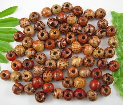 100pcs 8MM Mixed Hand painted wood round loose beads DIY Findings
