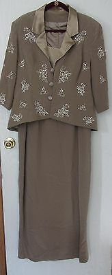 Womens 2 PC Full length Taupe Dress & Jacket  SZ 14-16  Mother of Bride, Wedding