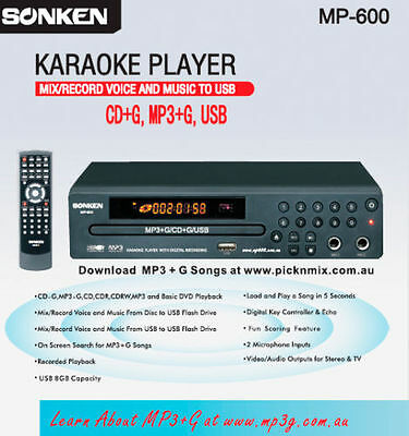 Sonken Mp-600 Cd+G Mp3+G Karaoke Player - Record, Songbook Creator, Key Cont