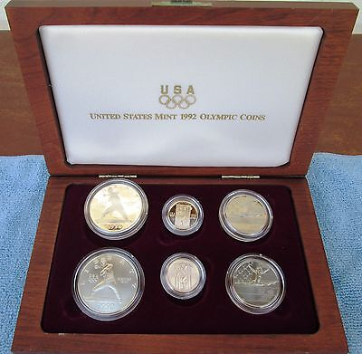 1992 Olympic 6 Coin US Mint Set 1 oz Silver 1/4 oz Gold 1/2 oz Clad