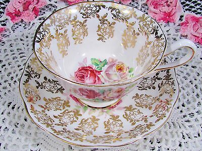 Royal Albert Pink White Roses Gold Gilt Floral Tea Cup And Saucer