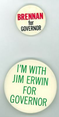2 Vintage 1970s Maine Governor Political Pinback Buttons - James Erwin Brennan