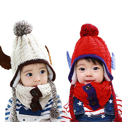 Cute 2016 Winter Baby Warm Scarf Boys Girls Kids Animal Snow Scarf Hat Caps Pink