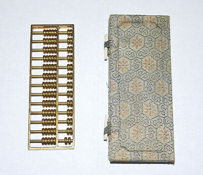Vintage Small Miniature Handheld Brass Chinese Abacus w Box