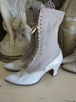 FABULOUS WOMEN'S Old Antique CREAMY WHITE BOOTS SHOES LEATHER & Canvas LACE UP