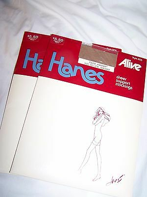 Hanes Alive 2 Sheer Support Stockings Mayfair Size 10 1/2-11M