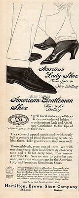 1914 Hamilton Brown Shoe Company American Lady Gentleman Vintage Fashion Ad