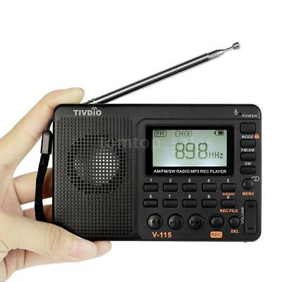 TIVDIO FM/ AM /SW World Band Radio MP3 Player REC Recorder With Sleep Timer E5S8