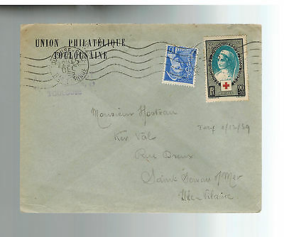 1939 France Toulousaine Philatelic Union Cover # B81 Red cross