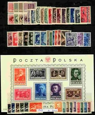 Poland MNH 1948 Complete Year set with Souvenir sheets
