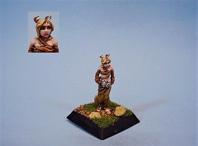 Confrontation painted miniature cute Barbarian female Changling (30 day listing)