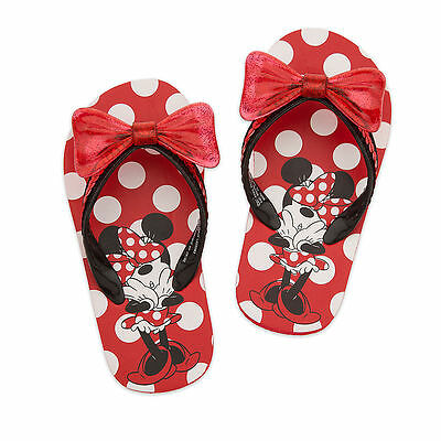 Disney Store Minnie Mouse Red Girls Flip Flops Sandals Size 11/12 13/1 2/3