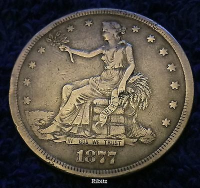 """US Seated Liberty Silver Trade Dollar Coin $1.00 - 1877-S  """"F"""" stamped - whizzed"""