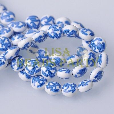 20pcs 12x8mm fimo polymer clay floral pattern rondelle