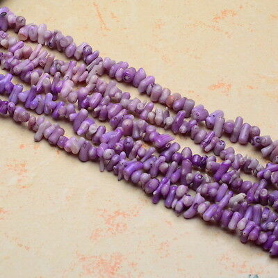 "16 3/8"" Purple Sea Coral Gemstone Chip Beads Strand(1 Strand) 12X4X4Mm - 8X4X3Mm"