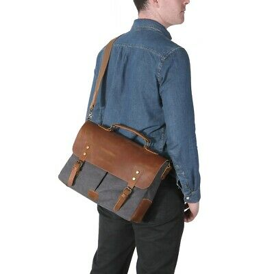 Lifewit Men's Messenger Bag Vintage Canvas Leather Military Shoulder Laptop 17""