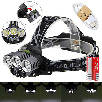 80000LM 5T6 White LED Head Headlamp Headlight Torch Lamp+USB Line+2xBattery