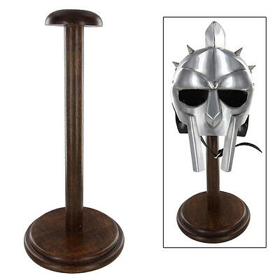 Round Base Dark Polish Stained Mango Wood Medieval Decor Helmet Armor Stand