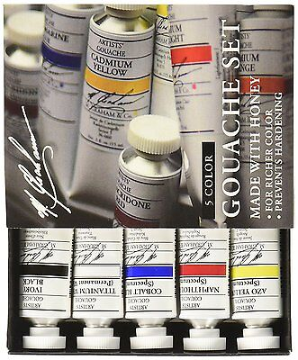 M. Graham 1/2-Ounce Tube 5 Color Gouache Paint Primary Set