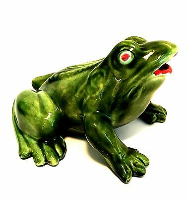 Ceramic Bull Frog Garden or Indoor Figurine Green Glaze Red Lips 7 inches Long