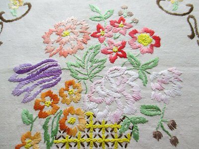 VINTAGE EMBROIDERY - HAND EMBROIDERED COLOURFUL VASE of FLOWERS