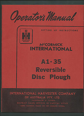 IH INTERNATIONAL McCORMICK A1-35 DISC PLOUGH OPERATOR'S MANUAL 14 PAGES 1964