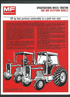 MASSEY FERGUSON MF575 TRACTOR SPECIFICATIONS BROCHURE, single page double sided