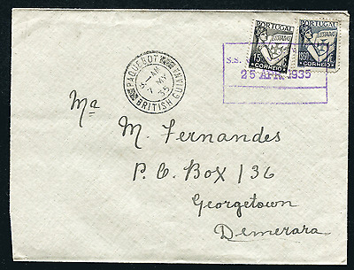 PORTUGAL: (15502) British Guiana KNSM paquebot/cancel/cover