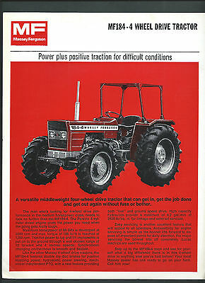 MASSEY FERGUSON MF184 TRACTOR SPECIFICATIONS BROCHURE, single page double sided