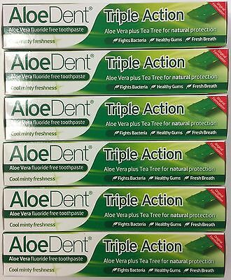 6x AloeDent Triple Action Aloe Vera Fluoride Free Toothpaste (100ml) Natural