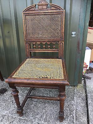 Antique Decorative Beregere Cane Hall Dining Chair Throne    19/6/X