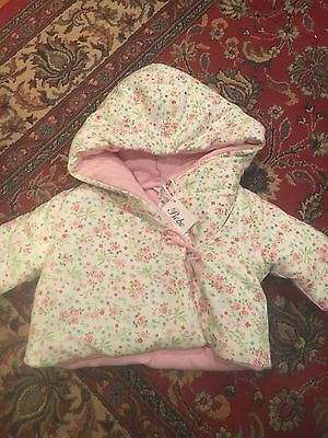 NEW! Bebe By Minihaha Baby Girl Warm Quilted Floral Pink Jacket Coat 00 3-6mths