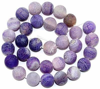 Frost Crackle Natural Agate 12MM Purple Round Gemstone Beads 15''