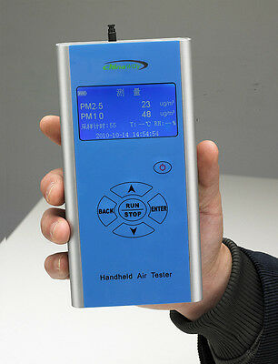 New Handheld Portable Particle Counter PM2.5 PM10 Unit Microgram/Cubic Meter E