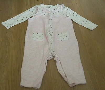 Next Baby Girls Strawberry Dungarees Set Size 6-9 months