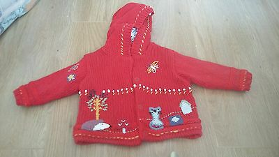 Next Baby Girls Red Knitted Cardigan Size 3-6 months